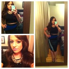 outfit of the night lace crop top, leather inset skirt from ASOS