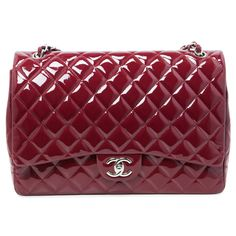 018d71a20ffd Chanel Burgundy Quilted Patent Leather Maxi Classic Double Flap