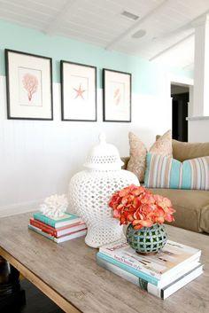 Sandy Beige and Blue Living Room... http://www.beachblissdesigns ...