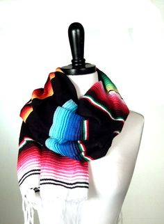 Striped Infinity Scarf Fringe Tube Scarf Wool by MiriTextiles