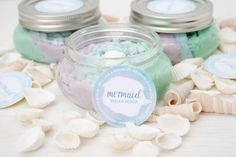 Feel like a mermaid with this coconut scented sugar scrub! Add cosmetic glitter to make it even more magical! Sugar Scrub Recipe, Sugar Scrub Diy, Sugar Scrubs, Salt Scrubs, Mermaid Crafts, Mermaid Diy, Mermaid Tails, Diy Body Scrub, Diy Scrub