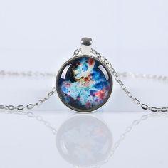 Fashion Nebula Space Galaxy Glass Cabochon Pendants Brand Jewelry for Women