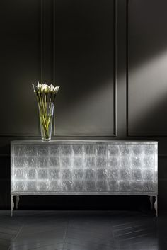 The Diva Collection silver leaf buffet sideboard on fabulous contemporary stainless steel baroque legs. The ultimate in modern design. Furniture Styles, Modern Furniture, Modern Contemporary, Modern Design, Luxury Italian Furniture, Luxury Dining Room, Dining Rooms, Sideboard Buffet, Formal Living Rooms