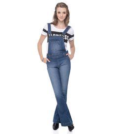 Macação feminino  Calça flare  Cintura alta  Marca: Blue Steel  Tecido: Jeans  Composição: 98% algodão e 2% elastano  Modelo veste tamanho: 36       COLEÇÃO INVERNO 2015       Veja outras opções de    macacões femininos.