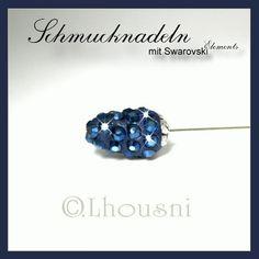 """NACHTBLAU --- Schmucknadeln - Hijabpins - Hijabnadeln mit Swarovski Elements in Kegelform simple, die Nadel ist ca. 7,5 cm lang, diese Accessoires werden in liebevoller Handarbeit in unserer """"FUNKELZONE.de"""" hergestellt...."""