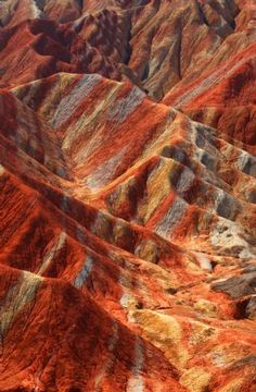 Unique scenery of Danxia landform in the area of the Zhangye Geology Park near the city of Zhangye Gansu Province.  CHINA