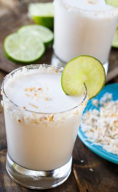 Coconut Margaritas- thick, creamy, and very easy to make. Made with coco Lopez Tequila Drinks, Cocktail Drinks, Cocktail Recipes, Cocktail Ideas, Alcoholic Beverages, Margarita Cocktail, Frozen Cocktails, Cocktail Parties, Easy Cocktails
