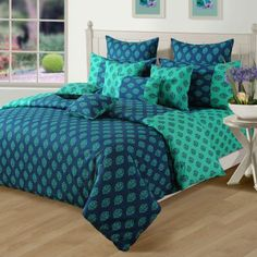 Swayam Bed In A Bag Turquoise Set of Eight Pieces,Bed In A Bag