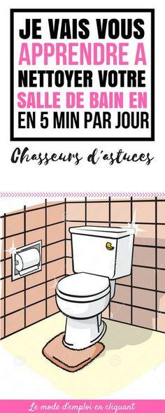 Voici les faits : nous n'avons pas toujours le temps ou l'envie (comprenez : pas que ça à faire) de passer des heures et des heures à nettoyer sa salle de bain chaque semaine. Alors, comment pouvons-nous garder notre salle de bain propre avec un minimum de temps et d'effort ? Voici la solution, vous devez utiliser la règle des cinq minutes. Cette règle fait des miracles ! La vérité c'est que vous pouvez faire beaucoup de choses... #astuces #trucs #trucsetastuces #nettoyage #maison