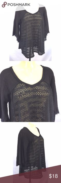 """Oddy Boho Top Sz M Black Crochet Raw Edge *Boho crochet flutter-sleeve top by Oddy; size M  * Raw edge hem; boho/festival/hippie style  * Please note fabric tag is not present but is likely cotton blend  * Please refer to chart below for  flat measurements and photos for item details  Shoulder-shoulder: N/A Armpit-armpit: 22"""" Waist: N/A Overall drop: 27"""" Sleeve: 19"""" Item Number: 2066 C ODDY Tops"""