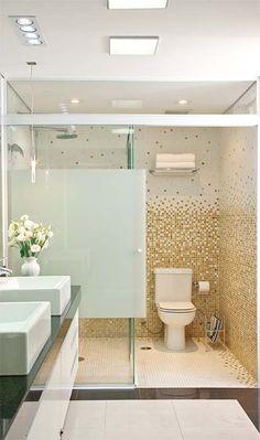 Pastilhas vidromescladas (Yara Rioto) 2 duchas porta de correr de vidro temperado com aplicação de película branca