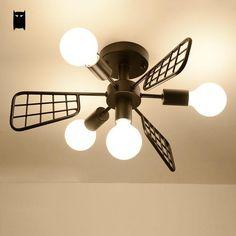 Black Iron Fan Chandelier Ceiling Fixture Modern Nordic Creative Pendant Lamp Light Luminaria Bedroom Living Study Dining Room #Affiliate