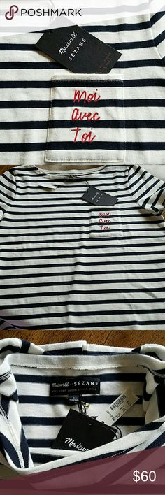 """❤HP ❤Madewell x Sezane """"Moi Avec Toi"""" Tee Madewell x Sezane """"Moi Avec Toi """" nautical striped tee.  Moi avec toi translates to """"Me with You"""" stitched in red on front pocket. Style F7119.  100% Cotton - thick material and machine washable. Have too many of the same style.  Sold out in stores and online. Madewell Tops Tees - Short Sleeve"""