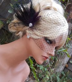 Black Dark Purple bridal hair fascinator and by kathyjohnson3, $68.00