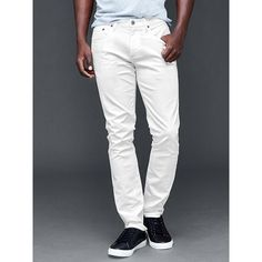 Gap Men STRETCH 1969 Skinny Fit Jeans ($50) ❤ liked on Polyvore featuring men's fashion, men's clothing, men's jeans, tall, white, gap mens jeans, mens slim jeans, mens white jeans, mens white skinny jeans and mens stretch skinny jeans