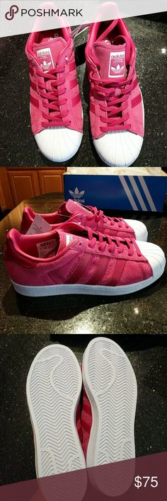 ADIDAS Hot Pink Suede Superstars Sneakers 8.5 -RARE Adidas Superstar model, low tops -Hot Pink genuine leather/suede with white rubber toe -Women's Size: 8 1/2 M (average width) -Brand-new, never worn, in box -Selling because they aren't my size. People told me to size down, but these are actually true to size, would fit an 8.5, or 8 with thicker socks. I'm a 9! Adidas Shoes Sneakers