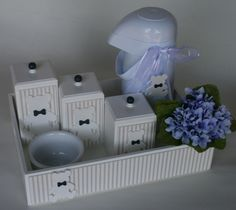 Kit Higiene URSOS Gravata Azul mar. | SoniEny Baby | Elo7