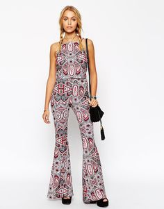 Image 1 of ASOS Flare Trousers in Boho Festival Print Co-ord