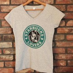 Starbucks Lovers Fan Shirt-Vneck-Ladies and by FrantasticButtons