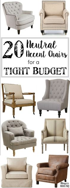 20 Neutral Accent Chairs for a Tight Budget | http://blesserhouse.com - 20 of the most highly rated neutral accent chairs fit for any type of space for less than $399.