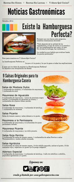 La Hamburguesa Perfecta, 9 Salsas para acompañar hamburguesas #infografias #hamburguesas