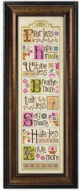 Lizzie Kate Less = More - Whine Less Breathe More - Cross Stitch. Part two of the Less = More Series! Whine Less, Breathe More. Model stitched on 28 Ct. Cross Stitch Quotes, Cross Stitch Love, Cross Stitch Needles, Cross Stitch Samplers, Counted Cross Stitch Patterns, Cross Stitch Charts, Cross Stitch Designs, Cross Stitching, Cross Stitch Embroidery