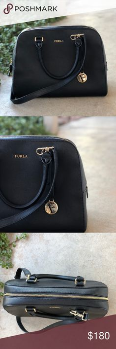 "Furla Large Black Leather Bowler Bag Satchel Black leather Furla satchel/bowling bag in like-new condition. No signs of wear. Measures about 13.25"" w x 9.5"" h x 5"" d. Classic handles and removable, adjustable shoulder strap. 3 interior pockets (one is a zippered pocket). Amazing, classic piece that looks amazing with any outfit. Furla Bags Satchels"