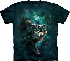 The Mountain Night Wolves Collage T-Shirt