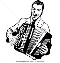 Accordion player - Vector illustration - stock vector