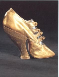 Golden Victorian Shoe. Won t be wearing this any time soon. Victorian Shoes 0f789f079c4
