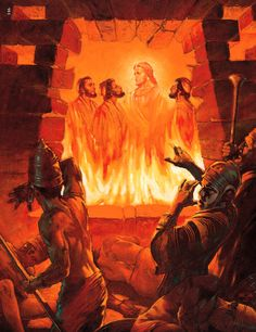 Shadrach, Meshach and  Abednego in the fiery furnace - the first Bible story I was told: http://www.biblestudytools.com/nrs/daniel/3.html