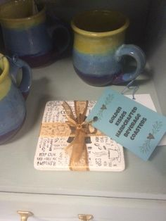 Last minute Christmas Shoppers are in luck. Main Street Artisan's Co-op will be open Christmas Eve Day from 9:00 AM - 11:00 AM.   Check out Shirley Corelli's newest item. She has been busy making beverage coasters and has many for you to choose from. They can be bought in packages of 4 or 2 and also individually.  Better yet, pair one of these coasters with one of Marilyn Dunkle's coffee mugs. They would make the perfect last minute gift.