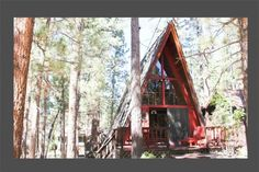A-Frame Of Mind - Adorable woodsy 2-story A-frame getaway with a loft bedroom with a queen bed, one bathroom, wood burning fireplace, satellite TV, DVD player, WiFi, and full kitchen with stove/oven, refrigerator, microwave, blender, toaster, coffee maker, dishes, pots/pans, and more. Deck with picnic table and charcoal barbecue.