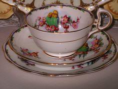 Royal Albert Crown China Trio RARE Pattern Budgies and Blossom