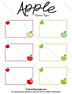 Free printable apple name tags. The template can also be used for creating items like labels and place cards. Download the PDF at http://nametagjungle.com/name-tag/apple/