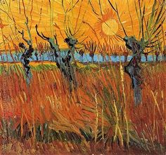Vincent van Gogh Pollard Willows and Setting Sun - Handmade Oil Painting Reproduction on Canvas Vincent Van Gogh, Van Gogh Museum, Van Gogh Arte, Van Gogh Paintings, Tree Paintings, Gouache, Post Impressionism, Wal, Oil Painting Reproductions