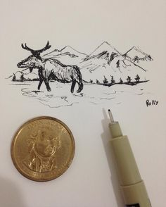A tiny one. #drawing #draw #tinydraw #smalldraw #coin #micron #molesquine  #molesquine_arts #art #arts_help #brazil #blackandwhite #animal #mountais #micronpen by polly_draws