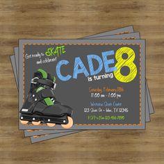 Roller Skating Party Invitation; Roller Skating Invitation; Roller Skating Birthday Invitations for Boys; Roller Skate Birthday Invitation by SophisticatedSwan on Etsy