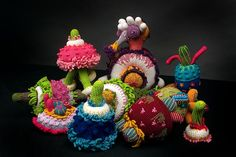 While wandering around the world wide web, I encountered crochet that can only be described as incredible. The first to catch my eye was the artist Luisa De Santi. She was featured in this post on Craftzine blog. I love these Psycho Toys of hers.  Too cool.