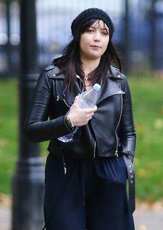 Celebrities In Leather: Daisy Lowe wears a black leather jacket