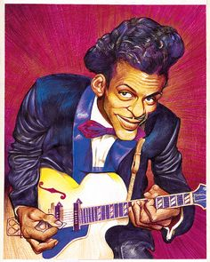 Funny Caricatures, Celebrity Caricatures, Cartoon Faces, Funny Faces, Rock N Roll Music, Rock And Roll, Caricature Drawing, Chuck Berry, Africa Art