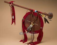 """Native American Stone War Club & Shield 30"""""""" -Tigua (t100)"""