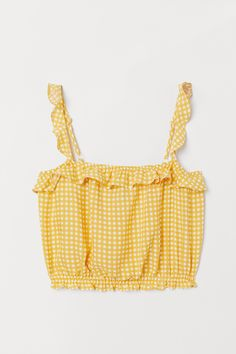 H&M Short Ruffle-trimmed Top - Yellow Cute Comfy Outfits, Cute Summer Outfits, Pretty Outfits, Pretty Clothes, Cute Crop Tops, Cropped Tops, Cute Summer Tops, Teen Fashion Outfits, Girl Outfits