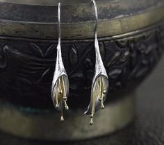 💕Calla Lily Long Flower Drop Earrings - Handmade 925 Sterling Silver💕 ***Only available at ➡️https://www.mattemoss.com/