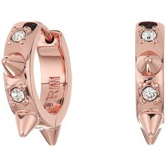 Rebecca Minkoff Studded Huggie with Pave Earrings (Rose Gold/Crystal)... ($48) ❤ liked on Polyvore featuring jewelry, earrings, rose gold jewelry, spike hoop earrings, spike stud earrings, spike earrings and spike earring
