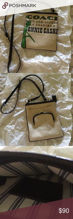 """Barely used Coach cross body Fun Bonnie Cashin bag...blue/white striped lining...outside compartment...snap purse outside...adjustable strap...tan with green & black design....black trim/straps...very good condition...7 1/2x8""""...very cute!! Coach Bags Crossbody Bags"""