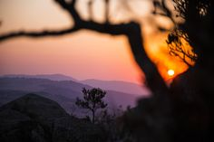 A sunset as seen from a hill in Swaziland, Africa.