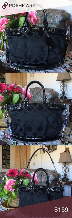 """Coach Op art Madison Sophia satchel/shoulder bag Coach Madison Sophia Style: 18650 Color :black  with silvertone hardware  Signature fabric with leather trim Inside zip,cell phone and multifunction pocket Zip top closure,fabric lining Handles with 5.5"""" drop Longer detachable strap for shoulder wear Approx: 14 (L) x 8.5 (H) x 4 (W), used  with normal wear from used but in great condition.from smoke & pey free home. 100% authentic Coach Bags Satchels"""