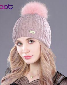 Adrien s Shop - Soft cashmere women s knited winter cap skullies beanies  fur pom pom hats Fur 8e61d56e125a