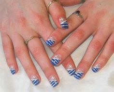 Greek flag nails. Cute.. but I wouldnt do this..